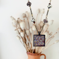 Brown Pendant Necklace with Abstract Art and Lampwork Glass Beads