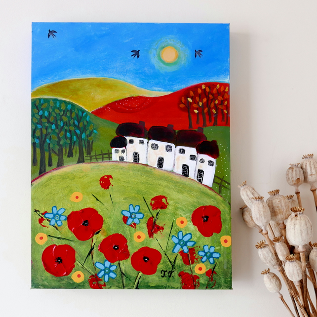 Original Naive Landscape with Red Poppies and Cottages