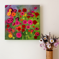 Meadow Artwork, Modern Painting of Flowers, Colourful Poppy Art