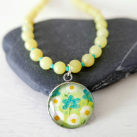 Lime Green Pendant necklace with Daisy Art Print and Jade