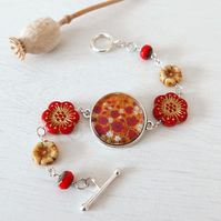Red Bracelet with Poppy Art print and Czech Glass Beads