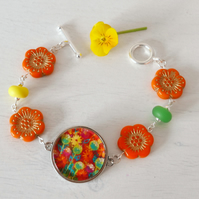 Orange Bracelet with Flowers Artwork and Czech Class Beads