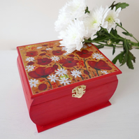 Red Storage Box with Poppy Art Print, Craft Room Storage, Make-up Box