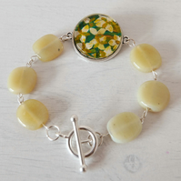 Green Yellow Bracelet with Lily Art Print and Pale Green Glass Beads
