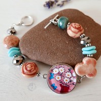 Pink Bracelet with Daisy Art Pendant and Ceramic Beads