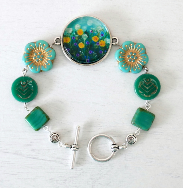 Teal Flowers Bracelet with Meadow Art Print and Floral Czech Glass Beads
