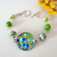 Green Floral Bracelet with Meadow Art Pendant and Lampwork Beads