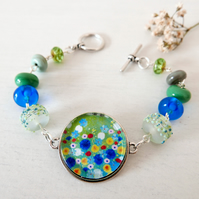 Blue Green Meadow Bracelet with Floral Art Pendant and Lampwork Beads