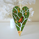 Christmas Hanging Decoration, Green Tree Ornament, Partridge in a Pear Tree