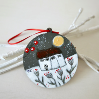 Grey Tree Ornament, Christmas Decoration, Winter Landscape, Handpainted Ornament