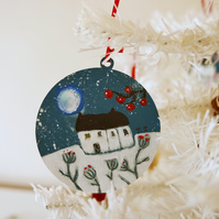 Blue Hanging Tree Bauble, Art Christmas Decoration, Winter Landscape Bauble