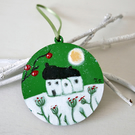 Green Christmas Decoration, Winter Landscape, Handpainted Christmas Ornament