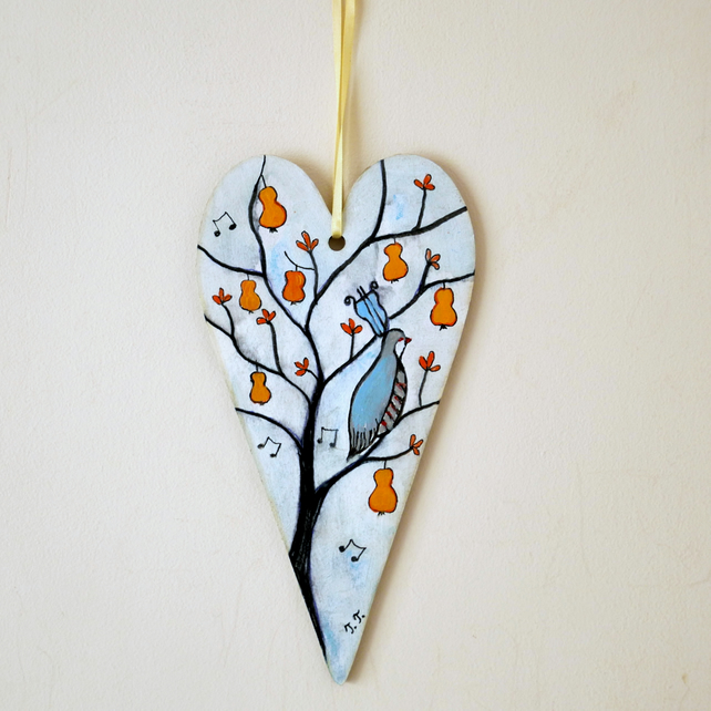 Christmas Hanging Heart, White Ornament, Partridge in a Pear Tree
