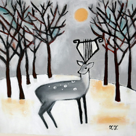 Winter Landscape, Deer Painting, Whimsical Artwork, Original Animal Art