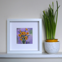 Daffodil Painting, Spring Flowers Artwork, Mother Day Gift