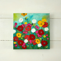 Flower Painting, Anemone Artwork, Colourful Art, Spring Flowers, Meadow
