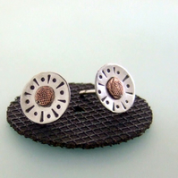 Silver & Copper sun stud earrings