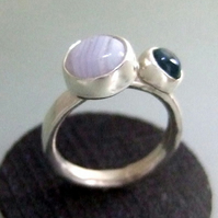 Blue lace agate & Blue topaz stone set ring