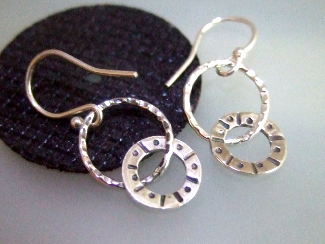 Silver sun design hoop drop earrings