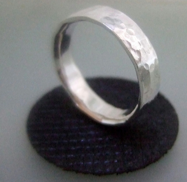Unisex hammered silver ring