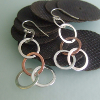 Silver and Copper 5 hoop earrings
