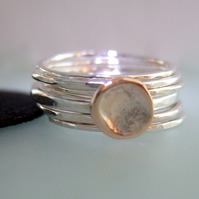 Shibuichi & Sterling Silver stacking rings