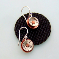 Silver & Copper sun drop earrings