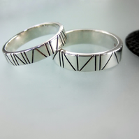 Oxidised UNISEX silver bands