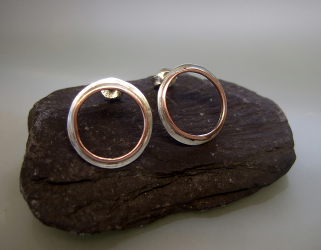 silver hoop stud earrings