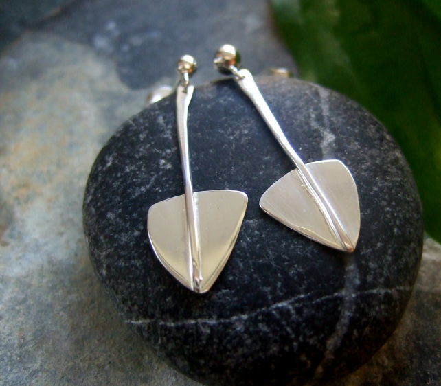 Silver dangle earrings, stylised leaf design earrings