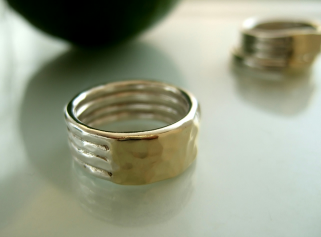 Silver and Gold textured band.