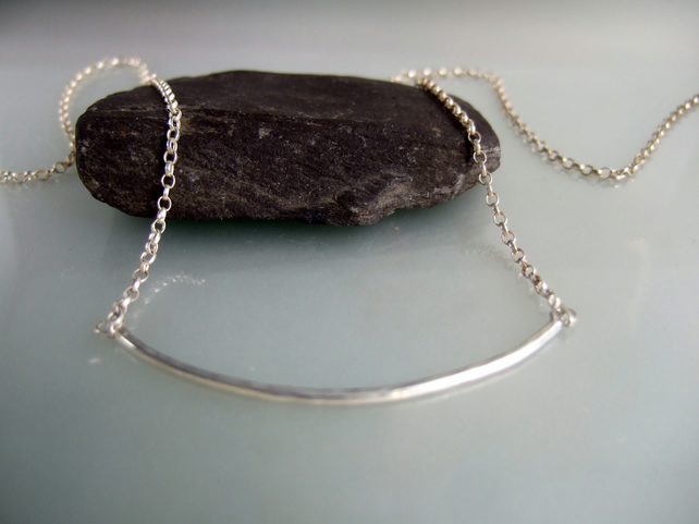 Segment of a curve Sterling Silver necklace