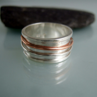 Silver sunglow spinner ring