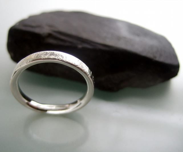 Scratch silver ring