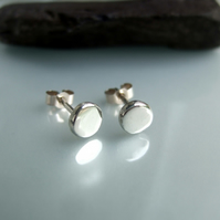 Recycled silver pebble stud earrings