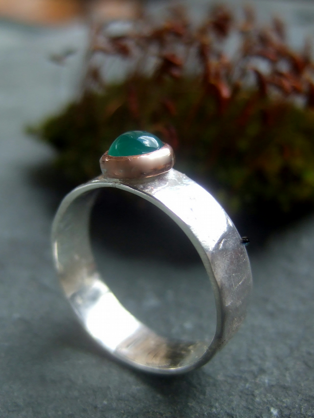 Jade stone set sunglow ring