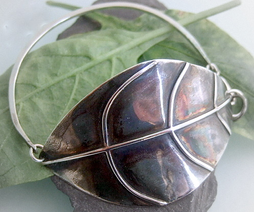 Large oxidised Leaf design bracelet