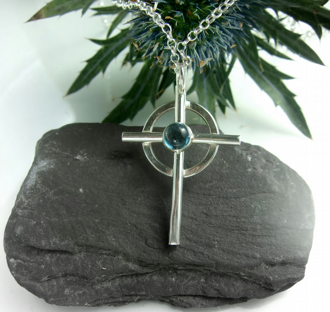 Cross Blue Topaz stone set pendant