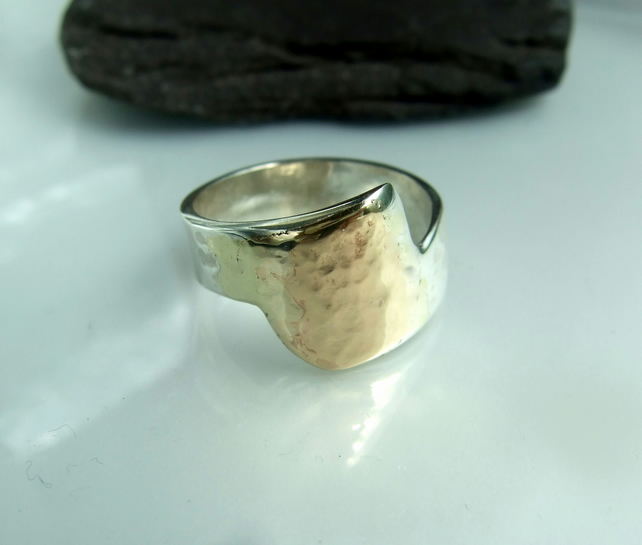 segment of a curve silver gold  ring