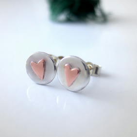 Silver & Copper stud earrings