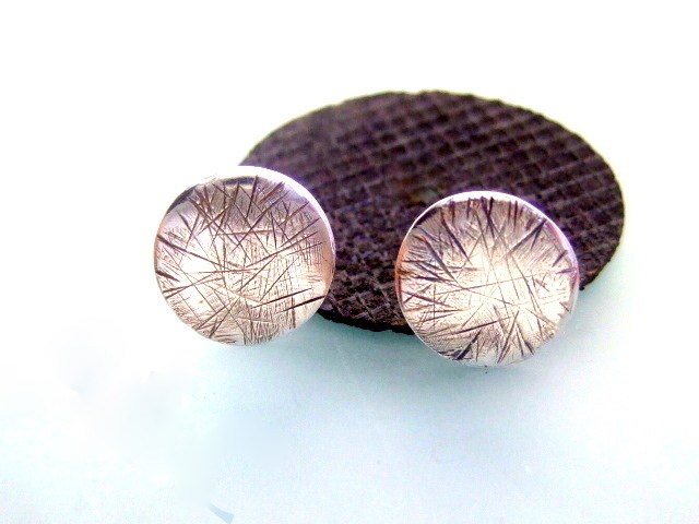 Silver stud earrings, handmade Scratch silver stud earrings