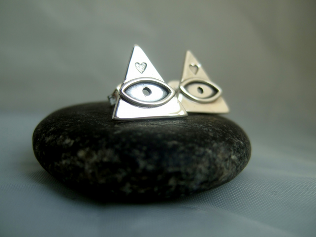 All seeing eye triangle stud earrings
