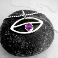 Amethyst all seeing eye pendant