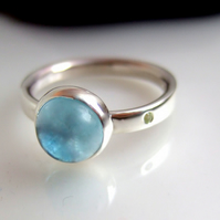 Blue topaz & Tourmaline stone set ring