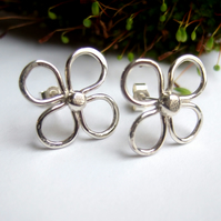 Silver studs, studs, silver stud earrings, flower stud earrings
