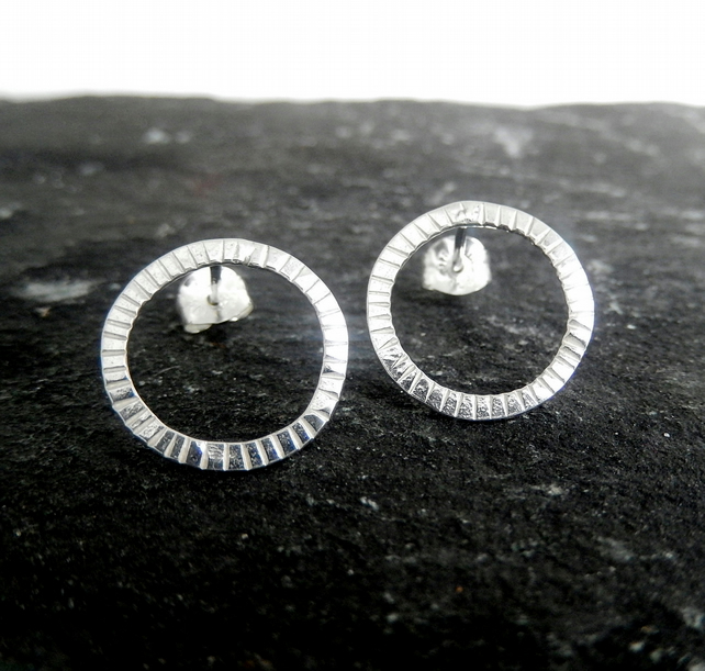 Forged silver hoop stud earrings simplistic range