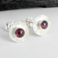 Stud, silver stud earrings, silver garnet earrings
