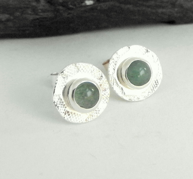 Aventurine set textured stud earrings