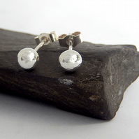 Silver stud earrings, silver pebble stud earrings, recycled silver stud earrings