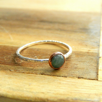 Skinny leaf textured green quartz ring